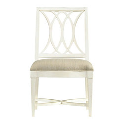 Stanley Furniture - Coastal Living Resort Heritage Coast Side Chair (Sail Cloth) - Finish: Sail Cloth. Interlocking curves featured on the back. X shaped braces. Cottage style. Super comfort seat. Solana sand fabric. Made from select hardwood solids and American white oak veneers. Seat height: 19.25 in.. 21.75 in. W x 25.5 in. D x 38 in. H (24.3 lbs.)Water there is just something about oceans and lakes, even rivers, that call to our very core. Our Heritage Coast Side Chair harnesses that love of water, and its movement, and puts it into another form.