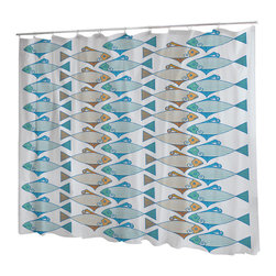 Uneekee - Uneekee Tessellated Fish Shower Curtain - Your shower will start singing to you and thanking you for such a glorious burst of design as you start your day!  Full printing on the front and white on the back.  Buttonhole openings for shower rings.