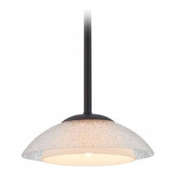 Dolan Designs Lighting - Bronze Mini-Pendant with Seeded Glass Shade Light - 1901-46 - Includes one 6-inch and three 12-inch downrods that allow the fixture to hang from a minimum of 12-inches to a maximum height of 48-inches. This fixture also comes along with an integrated sloped ceiling adapter. Takes (1) 60-watt halogen G9 bulb(s). Bulb(s) included. UL listed. Dry location rated.