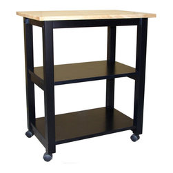 International Concepts - International Concepts Microwave Cart in Black/Natural - International Concepts - Microwave Carts - WC10185 - Mobility, convenience and style are brought to you with this microwave cart from International Concepts.