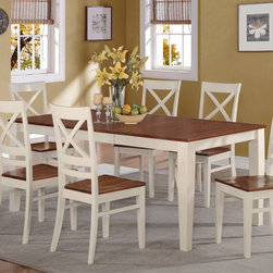"East West Furniture - Quincy Rectangular Dining Table 40""X78"" in Buttermilk and Cherry Finish - Quincy Rectangular Dining Table 40""X78"" in Buttermilk & Cherry Finish; Contemporary four-legged table for dining room or eat-in kitchen; Two-tone rectangular dinette table with brown top and white legs; Grooved pattern on recessed side panels of kitchen or dining room; Weight: 117 lbs; Dimensions: 60-78""L x 40""W x 30""H"