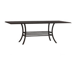 Frontgate - Athena Rectangular Outdoor Dining Table, Patio Furniture - Ideal for any environment, including oceanfront and saltwater destinations. Smoothly woven of UV-resistant high-quality wicker. Hand-welded, durable aluminum frame. Slatted aluminum top with umbrella hole. Assembly required. The Athena Dining Table by Summer Classics&reg brings graceful beauty to any outdoor space. high-quality resin wicker is expertly hand-woven over durable aluminum frames to create the smooth lines of the exquisite Athena Collection.  . . . . .