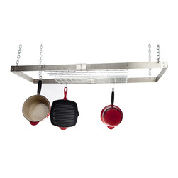 Advantage Components - Rectangular Hanging Pot Rack w Adjustable Arms - Three pans not included. Includes twelve pot hooks and four mounting screws. Four chains and product instruction guide. Fully adjustable length from 30 in. to 49 in.. Each rack with shelf. Able to adjust the length of the entire rack. Collapsible design for efficient shipping and storage. Easy assembly utilizing just two nuts and bolts. Warranty: Three years limited manufacturing. Made from solid steel. Made in USA. Assembly required. Steel grid: 22 in. L x 14 in. W x 0.19 in. H. Pot rack: 46 in. L x 15.38 in. W x 13 in. H (20 lbs.)Best value on the internet- It's like buying 2 and 3 pot racks in one. Super strong, adjustable size. Inspired by the patent pending rivet and adjust system, Advantage Components specializes in steel based furnishings which blend art and science, beauty and innovation, new to the steel home furnishings space. Advantage Components pot racks solve the will it fit question for your kitchen. Designed to grow with your ever changing storage needs. There's no need to measure or worry about ceiling joice location.