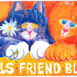 Caroline's Treasures - Cats Pals Friends Buds  Glass Cutting Board Large Size - Large Cutting Board .. . Made of tempered glass, these unique cutting boards are some of your favorite artists prints. 15 inches high and 12 inches long, they will beautify and protect your counter top. Heat resistant, non skid feet, and virtually unbreakable!