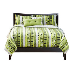 SIS Covers - SIS Covers Green Valley Duvet Set - 6 Piece King Duvet - 5 Piece Twin Duvet Duvet 67x88, 1 Std Sham 26x20, 1 16x16 dec pillow, 1 26x14 dec pillow. 6 Piece Full Duvet Duvet 86x88, 2 Std Shams 26x20, 1 16x16 dec pillow, 1 26x14 dec pillow. 6 Piece Queen Duvet Duvet 94x98, 2 Qn Shams 30x20, 1 16x16 dec pillow, 1 26x14 dec pillow. 6 Piece California King Duv Duvet 104x100, 2 King Shams 36x20, 1 16x16 dec pillow, 1 26x14 dec pillow6 Piece King Duvet Duvet 104x98, 2 Kg Shams 36x20, 1 16x16 dec pillow, 1 26x14 dec pillow. Fabric Content 1 60 Rayon, 40 Polyester, Fabric Content 2 60 Rayon, 40 Polyester, Fabric Content 3 60 Rayon, 40 Polyester. Guarantee Workmanship and materials for the life of the product. SIScovers cannot be responsible for normal fabric wear, sun damage, or damage caused by misuse. Care instructions Dry Clean Only. Features Reversible Duvet and Shams