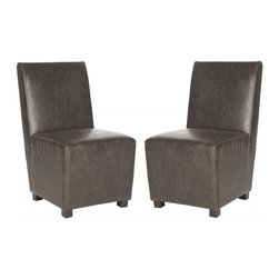 Safavieh - Salt Dining Chair (Set of 2) - The urban-chic angular lines of the Salt dining chair epitomize the understated, casual refinement of contemporary style. This set of two chairs is fully upholstered in antique brown PU leather and accented with birch wood legs in espresso finish. The exceptionally comfortable chair is sumptuous in the dining room.