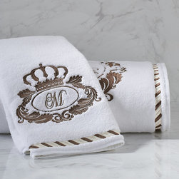Frontgate - Noble Crown Bath Towel - 700 gsm 100% hydrocotton towels with untwisted loops deliver superior performance and feel. Personalize with a monogram placed in the center of the crown design. Decorative border with two-tone embroidery. Combine with our 1,000 thread count Noble Sheeting for a coordinated suite. In White/Taupe, White/Chateau Gray, White/Mink and White/Antique Gold. Bearing an embroidered design inspired by the crests of historic European estates, our Noble Towel Collection blends old-world regality with modern innovation for an indulgent bath experience. The 700 gsm Turkish hydrocotton towels are woven using an advanced weaving technique that yields ultimate softness and absorbency yet quick-drying ease.  .  .  .  .  . Machine wash . Made in Turkey.