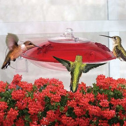 Droll Yankees - 2 Flower Ports Hummingbird Feeder - Droll Yankees WH-3 has 2 flower Ports formed into red tinted cover easy fill cap with nectar guard tips included. Red tint cover-Window Hummingbird feeder.