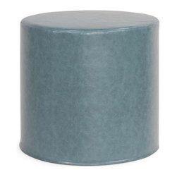 Howard Elliott Bucktown Turquoise No Tip Cylinder Ottoman - The No-Tip Cylinder is constructed with a dense light-weight foam and then topped off by a soft, high quality foam making it sturdy yet comfortable. Its unique design allows weight to be distributed evenly keeping it from tipping like most foam ottomans. This piece features a buttery soft faux leather. Blue Faux Leather Fabric