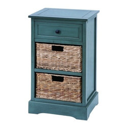 BZBZ96180 - Woodcraft Life Style Cabinet with 2 Wicker Baskets - Woodcraft Life Style Cabinet with 2 Wicker Baskets. This cabinet is made with solid wood pieces polished and treated in a French countryside blue color. Included are 2 levels of Baskets that slide in and out like attractive wicker drawers. And with such a beautiful look, you can enjoy this cabinet virtually anywhere. Use it perfectly in the master bedroom or the spare guest room.