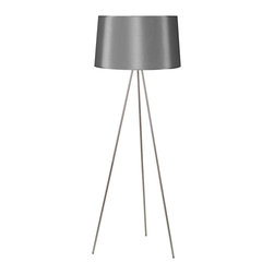 Lights Up! - Weegee Floor Lamp, Platinum Silk Glow - A modern floor lamp can serve as a chic addition to your living room, home office or bedroom. This floor lamps offers a variety of sophisticated colors and patterns for your ideal look. The 24-inch shade will give you just the right amount of light for reading, entertaining or simply relaxing in style.