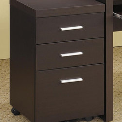 Coaster - Papineau File Cabinet w 3 Drawers - Contemporary style. Silver accent hardware pulls. Drawers provides space for storing papers, office supplies and important documents. Dark cappuccino finish. 15.75 in. W x 15.75 in. D x 26.75 in. H. WarrantyAdd this three drawer file cabinet to your home office for functional storage in a contemporary package.