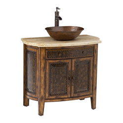 Ambella Home - Rustico Vessel Sink Chest - Make a real statement in your next bathroom remodel with a rich copper and brass vanity. The hammered copper sink complements the warm and rustic brass and nailhead accents beautifully. Essentials can be neatly tucked away in the top drawer and the lower area so as not to distract from the unique design.