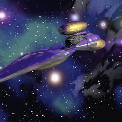 Murals Your Way - Starship Questnebula Wall Art - A gleaming purple starship glides through a field of stars in this wall mural, exploring a galaxy far, far away.