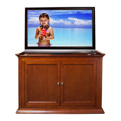 "Touchstone Home Products - Highland Dark Cherry TV Lift Cabinet for Flat Screen up to 46"" - The Highland is a beautiful bed-end cabinet with a dark cherry finish. The Highland TV lift cabinet transforms any room into the ultimate theater like experience with the press a button."