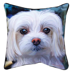 Pair of `Little Lord Malty` Maltese Dog Print Throw Pillows 18 Inch - This pair of 18 inch by 18 inch printed fabric throw pillows adds a wonderful accent to the home of any dog lover. The pillows feature a Maltese dog print of `Little Lord Malty` by artist Robert McClintock on the front, and the back is solid black. They have 100% polyester stuffing. These pillows are crafted with pride in the Blue Ridge Mountains of North Carolina, and add a quality accent to your home.