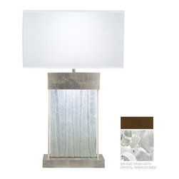 Fine Art Lamps - Crystal Bakehouse River Stone Table Lamp, 824810-14ST - Indoor only, art-glass table lamp in bronze finish with handcrafted, polished block of crystal river stones. This fixture is photographed with a bright white GU24 4100K CFL bulb (USA). For export, we recommend a 13W threaded CFL. 13 watt CFL Mini Spiral bulb, GU 24 base light bulb. UL Listed, thermoplastic socket, in line on/off switch. Shade dimensions: 17 x 8.75, 17 x 8.75, 10 Bulb(s) not included.