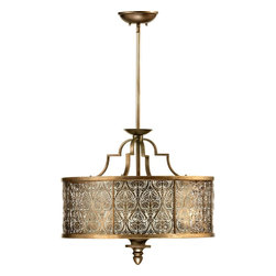 Quorum Lighting - Quorum Lighting French Damask Traditional Pendant Light X-81-4-7918 - With a very structured historic french design, this Traditional Pendant Light can be a very unique decorating piece in your home. Simplified by symmetrical elements often featuring floral motifs, the damask pattern boasts a rich history with its origin back to the early Middle Ages. This luminary celebrates the intricacies with a beautifully appointed damask pattern that is cut from thin sheets of metal complemented by a silk shade.