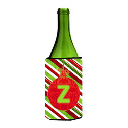 Caroline's Treasures - Christmas Ornament Holiday Initial Letter Z Wine Bottle Koozie Hugger - Christmas Ornament Holiday Monogram Initial Letter Z Wine Bottle Koozie Hugger CJ1039-ZLITERK Fits 750 ml. wine or other beverage bottles. Fits 24 oz. cans or pint bottles. Great collapsible koozie for large cans of beer, Energy Drinks or large Iced Tea beverages. Great to keep track of your beverage and add a bit of flair to a gathering. Wash the hugger in your washing machine. Design will not come off.