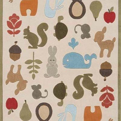 Momeni - Momeni Lil Mo Whimsy Lmj2 Ivory Rug - Forest critters, retro robots and mod flowers, oh my! Quirky motifs combine to put 'Lil Mo Whimsy in a class by itself. Hand-tufted of soft mod-acrylic, this collection features hand-carving for added texture and a vibrant color palette to make it as fun as it is unique.