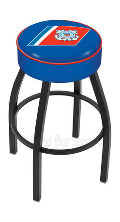 """Holland Bar Stool - Holland Bar Stool L8B1 - 4 Inch U.S. Coast Guard Cushion Seat - L8B1 - 4 Inch U.S. Coast Guard Cushion Seat w/ Black Wrinkle Base Swivel Bar Stool belongs to Military Collection by Holland Bar Stool Made for the ultimate sports fan, impress your buddies with this knockout from Holland Bar Stool. This contemporary L8B1 logo stool has a single-ring black wrinkle base with a 4"""" cushion for a fashion that says """"sleek and simple"""". Holland Bar Stool uses a detailed screen print process that applies specially formulated epoxy-vinyl ink in numerous stages to produce a sharp, crisp, clear image of your desired logo. You can't find a higher quality logo stool on the market. The plating grade steel used to build the frame is commercial quality, so it will withstand the abuse of the rowdiest of friends for years to come. The structure is powder-coated to ensure a rich, deep finish that will last ages. Construction of this framework is built tough, utilizing only solid mig welds. If you're going to finish your bar or game room, do it right- with a Holland Bar Stool. Barstool (1)"""
