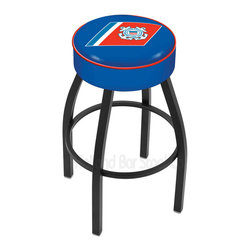 "Holland Bar Stool - Holland Bar Stool L8B1 - 4 Inch U.S. Coast Guard Cushion Seat - L8B1 - 4 Inch U.S. Coast Guard Cushion Seat w/ Black Wrinkle Base Swivel Bar Stool belongs to Military Collection by Holland Bar Stool Made for the ultimate sports fan, impress your buddies with this knockout from Holland Bar Stool. This contemporary L8B1 logo stool has a single-ring black wrinkle base with a 4"" cushion for a fashion that says ""sleek and simple"". Holland Bar Stool uses a detailed screen print process that applies specially formulated epoxy-vinyl ink in numerous stages to produce a sharp, crisp, clear image of your desired logo. You can't find a higher quality logo stool on the market. The plating grade steel used to build the frame is commercial quality, so it will withstand the abuse of the rowdiest of friends for years to come. The structure is powder-coated to ensure a rich, deep finish that will last ages. Construction of this framework is built tough, utilizing only solid mig welds. If you're going to finish your bar or game room, do it right- with a Holland Bar Stool. Barstool (1)"