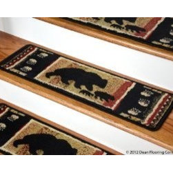 "Dean Flooring Company - Dean Premium Carpet Stair Treads - Black Bear Cabin 31"" x 9"" (Set of 13) - Dean Premium Carpet Stair Treads - Black Bear Cabin 31"" x 9"" (Set of 13) : Premium Patterned Carpet Stair Treads by Dean Flooring Company Color: Black Bear Cabin Material: 100% Polypropylene. Edges: Finished (Serged) with Color Matching Yarn. Each tread measures approximately 31"" x 9"". Unique cabin lodge design. Easy to spot clean and vacuum. Helps prevent slips on your hardwood stairs. Great for helping your dog easily navigate your slippery staircase. Reduces noise Reduces wear and tear on your hardwood stairs Attractive: adds a fresh new look to your staircase. Easy DIY installation with double sided carpet tape (not included). High quality patterned soil and stain resistant carpeting. Add a touch of warmth and style to your home today with stair treads from Dean Flooring Company!"