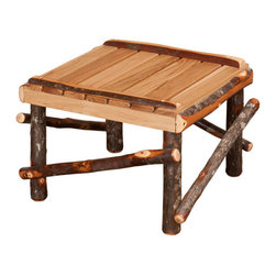 Amish Made Hickory Rocker (Live Edge Slats), With Footrest - Includes Live Wood Slat Footrest.
