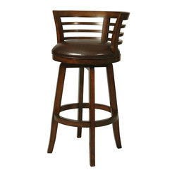"""Pastel Furniture - Pastel Ortona Swivel Barstool in Stallion Brown - 26 Inch - This handsomely crafted Ortona wood barstool features a quality wood finish in Distressed Cherry with sturdy legs and foot rest. An ideal way to add a touch of traditional flair to any dining or entertaining area in your home. The padded seat is upholstered in Strallion Brown offering comfort and style. (Available in 26"""" counter height or 30"""" bar height.)"""