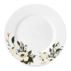 Mikasa - Mikasa Linen Bloom 8 1/4-Inch Salad Plate - Porcelain dinnerware features delicate flowers infused with subtle color on a linen-inspired background for a crisp look and feel. The floral pattern of the dinnerware brings the tranquil palette of meadow flowers to any table.