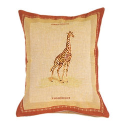 Pillow Decor Ltd. - Giraffe French Tapestry Throw Pillow - The elegant giraffe makes a beautiful focal point on this safari-worthy throw pillow. Created from French tapestry, the pillow features an African motif border and vertical orientation to mimic the graceful length of the giraffe's neck. Pair this pillow with contrasting shapes and complementary colors for a look that's richly exotic.