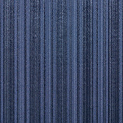 Navy Two Toned Stripe Metallic Sheen Upholstery Fabric By The Yard - This multipurpose fabric is great for residential upholstery, bedding and drapery. This material is woven for enhanced elegance. The sheen of this material varies depending on the light for a unique appearance.