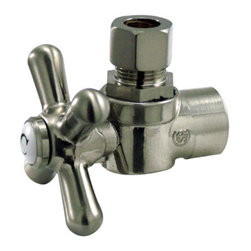 Kingston Brass - Angle Stop with 1/2in. Sweat x 3/8in. OD Compression - The 1/4-turn angle stop valve features an easy-to-handle cross lever which controls the movement of water through and from plumbing fixtures. The valve is made of solid brass built for durability and dependability and also comes in a variety of finishes to better coordinate your kitchen/bathroom.
