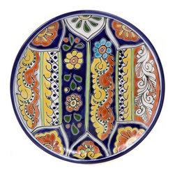 "Mexican Talavera - Mexican Talavera 12"" Decorative Plate, Design D - Mexican Talavera Decorative Plate - 12"""