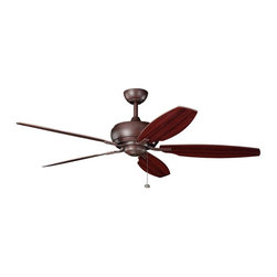 "BUILDER FANS - BUILDER FANS 300105TZ Whitmore 60"" Transitional Ceiling Fan - With a Tannery Bronze(R) finish, this fan is a wonderful addition to the Kichler Whitmore(TM) Collection. The 5, 60"" blades are pitched 18 degrees and are reversible with Teak and Cherry finishes. The 212mm x 35mm Motor will provide the quiet power you need. This fan comes complete with a pull chain (3 speeds forward and reverse) and 4"" (1"" O.D.) downrod. It is low ceiling adaptable"
