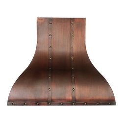 "World CopperSmith - World CopperSmith Colonial Range Hood 30"" x 24"" x 36"" - Inspired by American colonial home construction, this range hoods iron straps and rustic patina will add distinction and warmth to your family's kitchen. Each one is hand made from pure copper, then expertyly brushed and sealed to provide a beautiful maintenance free finish. No risk, money back guarantee, free shipping."