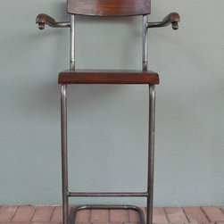 iron + wood bar stool - view this item on our website for more information + purchasing availability: http://redinfred.com/shop/category/furnish/bar-counter-stools/iron-wood-barstool/