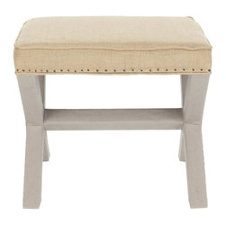 Safavieh - Kita Ottoman - Whether you call it an X-bench or cross-bench, the Kita Ottoman offers a designer look with all the trimmings. Its classic form complements any design style from contemporary to traditional, and its custom look comes from a sophisticated fabric mix with warm beige jute for the seat and taupe linen on the legs and crossbar. Detailed with flat black nail heads, the fully upholstered Kita is ideal in pairs at the foot of the bed or in the living room, or use it alone as seating in a master bath.