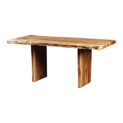 """Artemano - Freeform Acacia Dining Table With Wooden Legs, 94"""" L X 44"""" W X 30"""" H - Three solid, heavy slabs of acacia wood are assembled to create a unique table inspired by nature. Easily adaptable to rustic and contemporary design styles, among others. Each live edge acacia dining table has its own freeform lines and curves; they are also each unique with markings, knots, breaches and crevasses. Available in three sizes."""