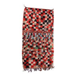 """Pre-owned Red & Black Squares Boucherouite Rug - 4' 5"""" x 9' - A sultry red & black Boucherouite rug woven by Berbers of the Atlas Mountains. The rich effect of color is matched amply by the sumptuously thick, tactile pile, making it a kind of modernist painting in wool. Clean professionally. Made of a Wool/Cotton/Poly blend, weighing approximately 10 lbs."""