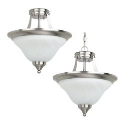 Sea Gull Lighting - Sea Gull Lighting 77174 Brockton Two Light Semi-Flush Convertible Pendant - This pendant from the Brockton Collection has an aviation inspired design that melds traditional and contemporary elements for a final style that will enhance any room's decor.Features: