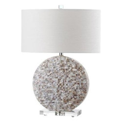 Safavieh - Lindsey Table Lamp ZMT-LIT4295A - A glimmering round disc completely encased in natural shell mosaic tiles forms the striking base of the Lindsey table lamp. With white textured cotton drum shade and an acrylic base and finial, this lamp shines with style in any transitional setting.