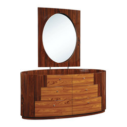 Global Furniture - Global Furniture USA New York 6-Drawer Dresser with Mirror in Kokuten - The New York bedroom collection is a beautiful display of contrasting wood grains and elegant curves. The bedroom is not only stylish but it is also provides optimal storage.