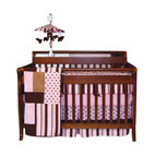 Trend Lab - Trend Lab Pink Maya Crib Bedding Set - In pleasing pops of pink and brown, this bedding set is pretty as a pastry. Polka dots and stripes break up the rosy pink with chocolate and caramel brown prints. This refined set includes everything you need for your baby's crib — coverlet, 4-piece slipcover bumper, skirt and sheet.