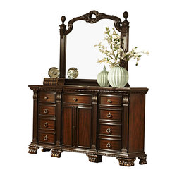 Homelegance - Homelegance Orleans 9-Drawer 2-Door Dresser with Mirror in Rich Cherry - The grandeur of old world Europe is flawlessly executed in the Orleans collection. Acanthus leaf carvings feature prominently and blend with elegantly appointed moldings on each piece of this stately bedroom. Wreath accents lend dramatic flair to the bed and mirror as does the sculpted lion's foot base, supporting each of the case pieces. Heavy pilasters rise with and are topped with carved finials on the tufted dark brown bonded leather headboard and footboard. A rich cherry finish with gold kitchen & dining kitchen.
