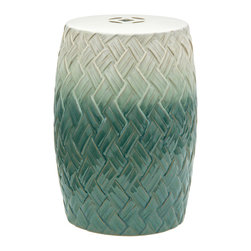 "Oriental Furniture - 18"" Carved Woven Design Porcelain Garden Stool - This handmade porcelain garden stool features a rustic woven pattern reminiscent of traditional, barrel-shaped baskets. This classic shape is finished with a vibrant, medium-gloss glaze that transitions from a lush teal to a sea-foam green and ends in a creamy white. With its weather-resistant finish, decorative medallion piercing on top, and its open base, this delightful stool is suitable for decorating your garden as well as your living room. Perfect as a plant stand, extra seat, or low end table, this is a great way to add a splash of color to your apartment, house, workplace, or garden."