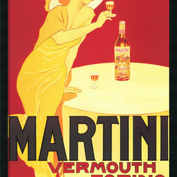 "Amanti Art - ""Martini — Vermouth Torino"" Framed with Gel Coated Finish - Fun and bold, hang this colorful French vintage poster in your bar, or really anywhere you want to brighten your home. It's finished with a gel coating and framed in black, so the images really pop."