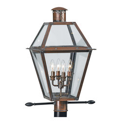Quoizel - Quoizel RO9014AC Rue De Royal 4 Light Post Lights & Accessories in Aged Copper - Long Description: From the Charleston Copper Lantern Collection, this piece gives you the historic look of gas lighting, but without the hassle of a propane feed. It is all electric, solid copper and hand riveted, giving your home the romantic, reproduction style of antique gas lights still popular today on many of the charming homes in New Orleans and Charleston.