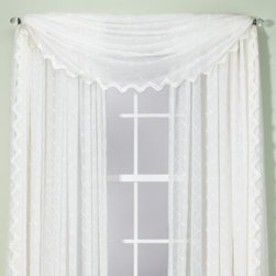Beacon Looms, Inc. - Diamante Scarf - Delicate and elegant, the translucent voile of the stylish Diamante window panels feature a subtle embroidered diamond motif which is beautifully softened by a gentle crushed effect. The scalloped bottom increases the sophisticated appeal.