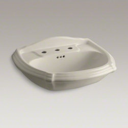 """KOHLER - KOHLER Portrait(R) pedestal bathroom sink basin with 8"""" widespread faucet holes - The charming, traditional styling of this Portrait pedestal lavatory basin integrates with the Portrait collection to carry the understated elegance of French Provincial design throughout the room. The basin features an integral backsplash and drilling for faucets with 8"""" centers."""